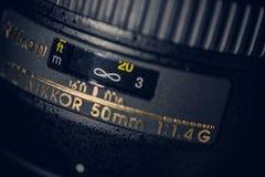 Free The Originale Nikkor 50mm 1.4 G Lens For Full Frame Nikon Cameras, Close Up, Details Royalty Free Stock Image - 171111296