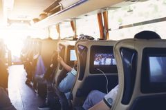 Free The Passengers In The Bus Which Are Tourists And Guide Royalty Free Stock Photography - 159918977