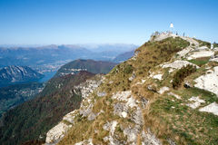 The Peak Of Mount Generoso With View At Lake Lugano Stock Photo