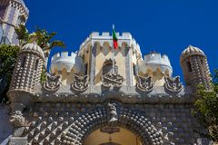 Free The Pena Palace A Romanticist Castle Located In Sao Pedro De Penaferrimat At The Municipality Of Stock Image - 167212931