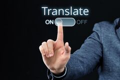 Free The Persona Turn On An Abstract Translation Program Stock Image - 196349621