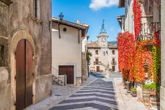 The Picturesque Village Of Pescocostanzo On A Sunny Day. Abruzzo, Central Italy. Stock Image