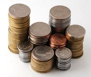 The Piles Of Coins Stock Images
