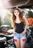 The Pin-up Beautiful Girl With Long Hair Outdoor, Growth With A Beautiful Figure, On A Street Stock Photography