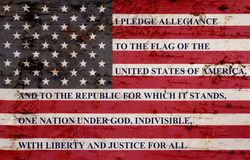 Free The Pledge Of Allegiance On Weathered Flag Stock Images - 94339424