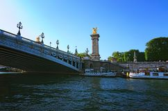 Free The Pont Alexandre 3 Is Most Elegant, Grandiose, And Sumptuous Bridge In Paris. View From The Tourist Boat. Paris, France Stock Photography - 123439492