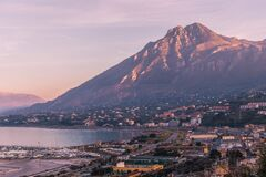 Free The Port Of Termini Imerese With The Lights Of The Sunset On The Massif Of Termini Stock Image - 187025901