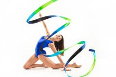 Free The Portrait Of Beautiful Woman Gymnast On White Royalty Free Stock Photography - 110554637