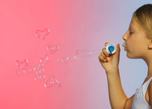 Free The Pretty Girl With Bubbles Heart Stock Image - 16949621