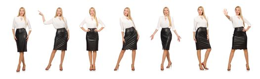 Free The Pretty Woman In Leather Skirt Isolated On White Stock Photo - 132875740
