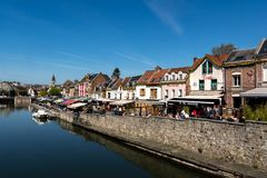 Free The Quay Of Restaurants In Amiens In France Stock Photo - 150389300