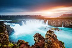 Free The Rapid Flow Of Water Powerful Godafoss Cascade. Location Bard Royalty Free Stock Photography - 130015497