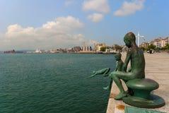 The Raqueros On The Seaside, Santander, Spain Stock Photos
