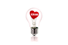 Free The Red Heart Inside Of The Light Bulb Isolated On White. Stock Photos - 50048593