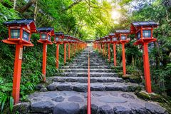 Free The Red Traditional Light Pole At Kifune Shrine, Kyoto In Japan Stock Photography - 124416622