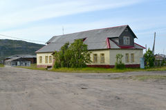 Free The Repaired Wooden Building In The Settlement Of Teriberka. Murmansk Region Royalty Free Stock Photos - 73424448