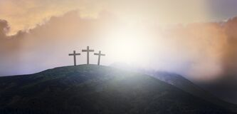 Free The Resurrection Of Jesus. Sign Of The Cross Against The Sky. The Cross Of Jesus On The Background Of Sunrise Of The Sun.  Stock Photo - 179216220