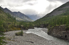 The River In Mountains Of Yakutia. Royalty Free Stock Photos