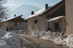 The Road To Montefortino In The Winter Season Royalty Free Stock Photography