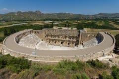 The Roman Ancient Theater In Aspendos. Stock Photo