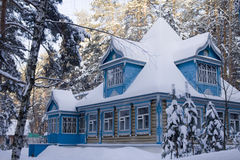 The Russian House In The Winter Stock Images