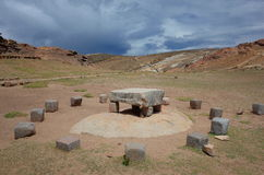 The Sacrificial Altar At The Chincana Ruins On The Isla Del Sol On Lake Titicaca Royalty Free Stock Photos