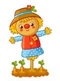 The Scarecrow Is Standing In A Garden. Stock Photos