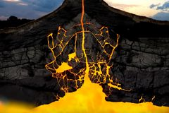 Free The Scheme Of The Volcano In The Earth\ S Crust Stock Photography - 154337752