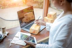 Free The Seller Prepares The Delivery Box For The Customer,online Sales, For Ecommerce. Stock Image - 165623211