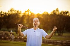 Free The Senior Golfer Rejoiced At His Victory. Man On Golf Filed.  Great Victory Stock Image - 219665921