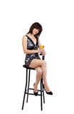 The Sexual Girl Sits On A Bar Chair Stock Photos
