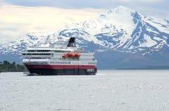 Free The Ship Hurtigruten Entering Tromsoe Harbour Royalty Free Stock Images - 103177469