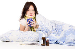 The Sick Girl Lying In Bed Stock Photo