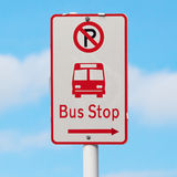 The Sign Shows Way To Bus Stop And No Parking Area With Blurry B Stock Photo