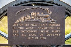 Free The Site Of The First Jesse James And Gang Train Robbery Royalty Free Stock Image - 165217026