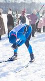The Skier Was Tired After A Long Race Royalty Free Stock Image