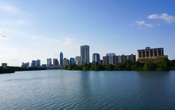 Free The Skyline Of Downtown Austin Texas From The Boardwalk On Lady Bird Lake Royalty Free Stock Photos - 94265128