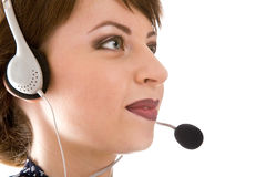 The Smiling Girl Of The Telephone Help Royalty Free Stock Photography