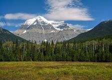 Free The Snowy Peak Of Mount Robson, The Highest Peak In The Canadian Rockies In Mt. Robson Provincial Park Stock Images - 196724024