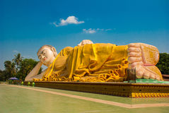 The Soles Of The Feet. Mya Tha Lyaung Reclining Buddha. Bago. Myanma. Burma. Stock Photo
