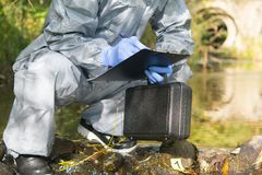 Free The Specialist, In A Protective Suit And With A Suitcase In His Hand, Is Recording The Findings At The Crime Scene On The Pond, Royalty Free Stock Photography - 166751637