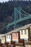 The St. John Bridge & Row Of New Houses. Royalty Free Stock Photo