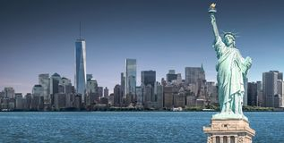 Free The Statue Of Liberty With One World Trade Center Background, Landmarks Of New York City Stock Photos - 116730363