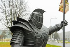 The Statue Of The Knight. The Figure Of A Man In Metal Armor. Stock Image
