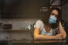 Free The Stress Of Running A Coffee Shop During The Covid-19 Epidemic Stock Photo - 214793680