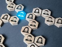Free The Structure Of Hexagonal Figures With Employees Is Connected Together Through A Blue Figure. Establishing Contact Between Stock Images - 159668864