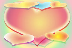 The Stylized Image Of Seven Hearts On A Multi-coloured Background With A Free Field Stock Photography