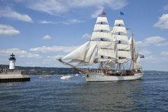 The Tall Ship Europa Entering Duluth Harbor Stock Photo
