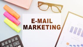 Free The Text E-MAIL MARKETING On Office Desk With Calculator  Markers  Glasses And Financial Charts Stock Photography - 208798632