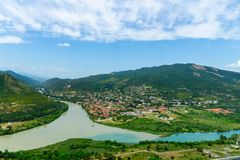 Free The Top View Of Mtskheta, Georgia, The Old Town Lies At The Confluence Of The Rivers Mtkvari And Aragvi. Svetitskhoveli Cathedral Royalty Free Stock Photo - 166687345